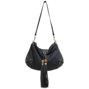 Gucci Black Monogram Babouska Indy Top Handle Bag