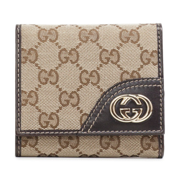 Gucci Dark Brown Monogram Britt Trifold Wallet