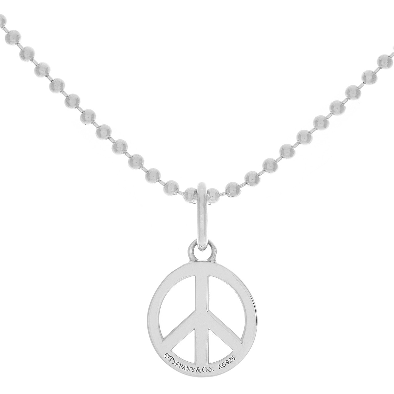 35ae21908d426 Tiffany & Co. Sterling Silver Peace Sign Charm on Beaded Chain