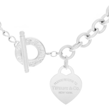 Tiffany  & Co. Sterling Silver Heart Toggle Necklace