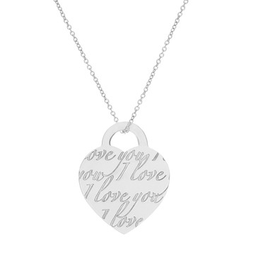 Tiffany & Co. Sterling Silver Notes 'I Love You' Heart Pendant