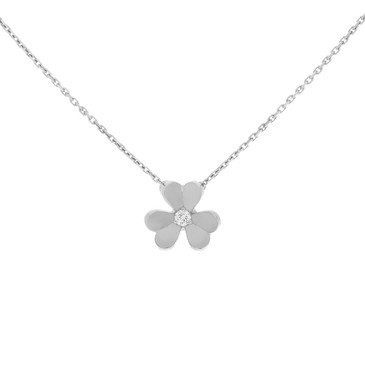 Van Cleef & Arpels 18K White Gold & Diamond Mini Frivole Pendant Necklace