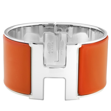Hermes Orange Enamel Extra Wide Clic Clac Bracelet