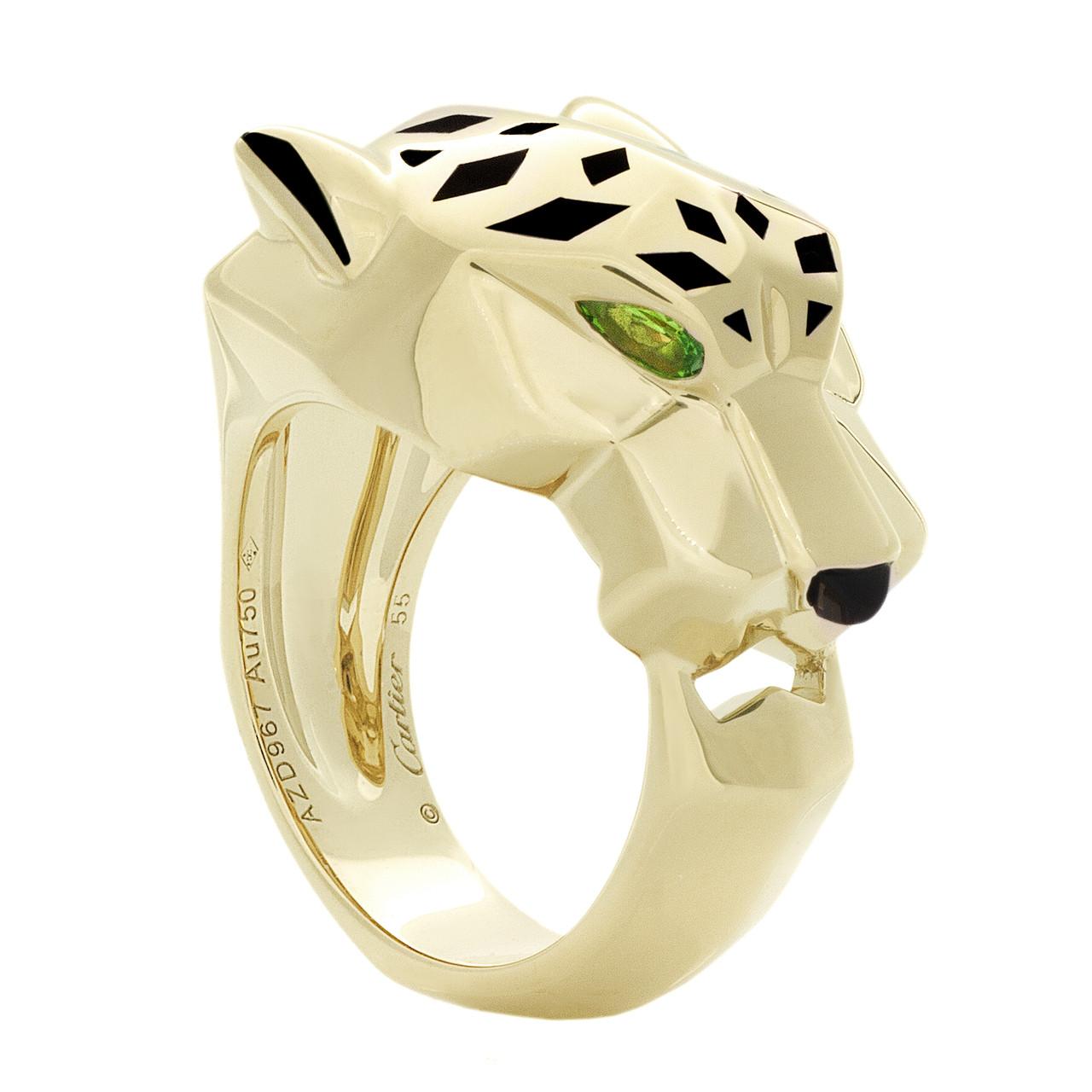 328f0c4bc4309 Cartier 18K Yellow Gold, Tsavorite Garnets & Onyx Panthere de Cartier Ring