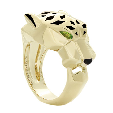 Cartier 18K Yellow Gold, Tsavorite Garnets & Onyx Panthere de Cartier Ring