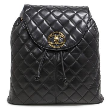 Chanel Black Quilted Lambskin Vintage Drawstring Backpack