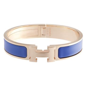 Hermès Bleu Turquin Enamel Narrow Clic Clac Bracelet