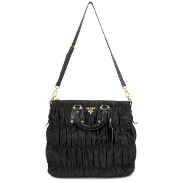 Prada Black Tessuto Gaufre Convertible Bag