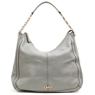 Salvatore Ferragamo Grey Pebbled Leather Conny Hobo