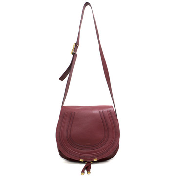 Chloe Burgundy Calfskin Medium Marcie Crossbody Bag