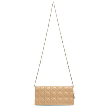 Dior Beige Quilted Cannage Lady Dior Clutch