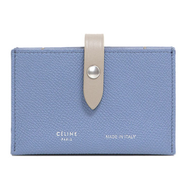 Celine Blue Grained Calfskin Accordion Card Holder