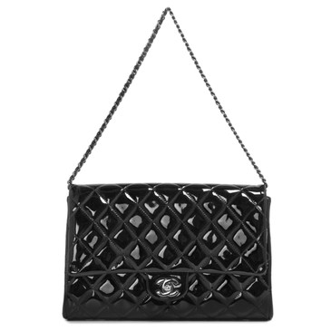 Chanel Black Patent Flap Clutch Bag