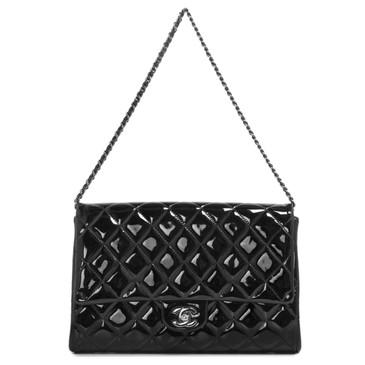 Chanel Black Patent Flap Clutch Bag