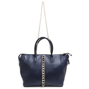 Valentino Navy Va Va Voom Studded Top Handle Bag