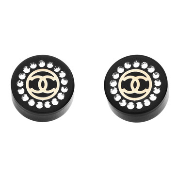 Chanel Black Resin & Crystal CC Stud Earrings