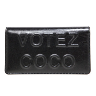 Chanel Black Calfskin Votez Coco Yen Wallet