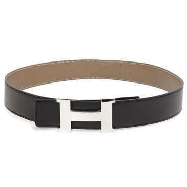Hermes Black/Etoupe Calfskin 42mm Constance Belt