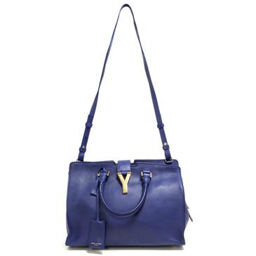 Saint Laurent Blue Calfskin Small Classic Y Cabas