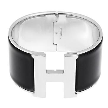 Hermes Black Enamel Extra Wide Clic Clac Bracelet