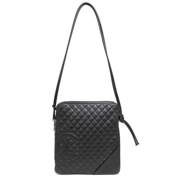Chanel Black Quilted Leather Ligne Cambon Flat Large Crossbody Bag