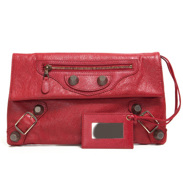 Balenciaga Red Lambskin Giant 21 Envelope Clutch