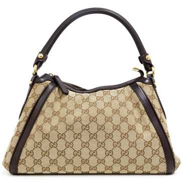 Gucci Brown GG Canvas Small Scarlett Studded Hobo