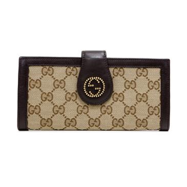 Gucci Brown GG Canvas Scarlett Continental Wallet