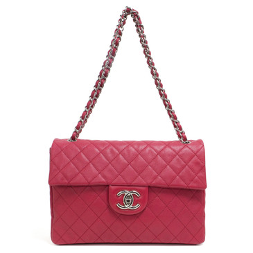 Chanel Fuchsia Washed Caviar Maxi Single Flap