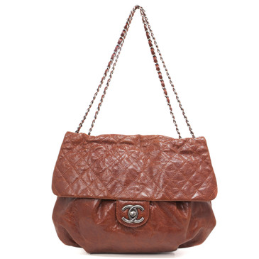Chanel Brown Glazed Caviar Large Elastic Flap Bag