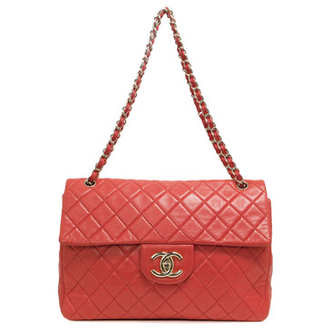 Chanel Coral Quilted Lambskin Maxi Single Flap