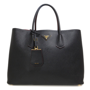 Prada Black Saffiano Cuir Large Double Bag