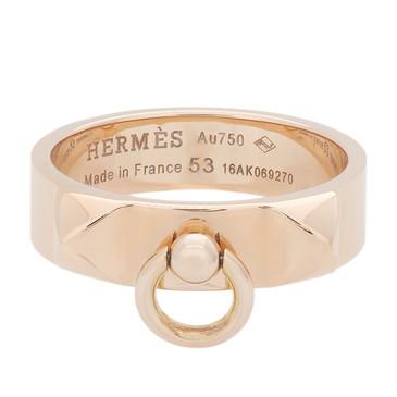 Hermes 18K Rose Gold Collier de Chien Ring