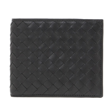Bottega Veneta Black Intrecciato Bi-Fold Wallet
