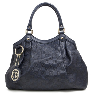 Gucci Navy Guccissima Leather Medium Sukey Tote