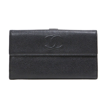 Chanel Black Caviar Timeless Continental Flap Wallet
