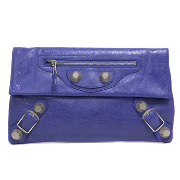 Balenciaga Purple Lambskin Giant 21 Envelope Clutch