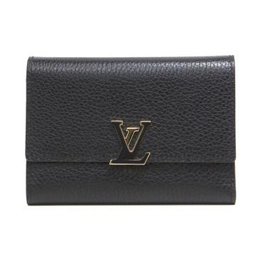 Louis Vuitton Noir Taurillon Capucines Compact Wallet