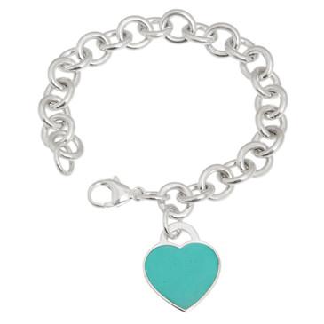 Tiffany & Co. Sterling Silver & Enamel Heart Tag Bracelet