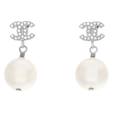 Chanel Crystal Pearl CC Drop Earrings