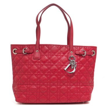 Dior Red Coated Canvas Cannage Quilted Small Panarea Tote