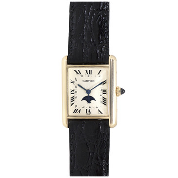 Cartier 18K Yellow Gold Tank Calendar Moonphase Watch