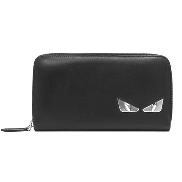 Fendi Black Calfskin Monster Eyes Zip Around Wallet