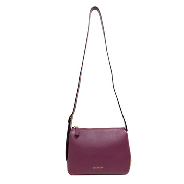 Burberry Dark Plum Grained Calfskin House Check Small Helmsley Crossbody