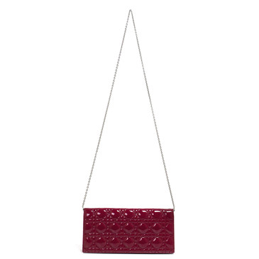 Dior Red Patent Cannage Lady Dior Clutch
