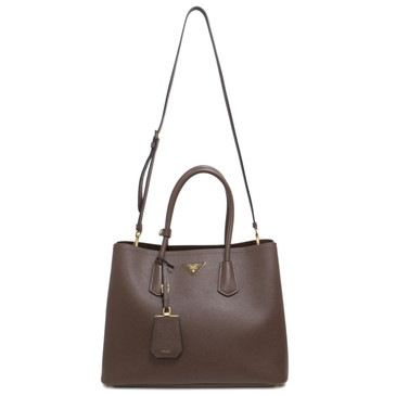 Prada Cacao Saffiano Cuir Medium Double Bag
