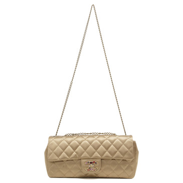 Chanel Gold Satin Quilted Jewel East West Flap