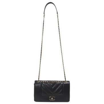 Chanel Black Chevron Quilted Mademoiselle Vintage Flap