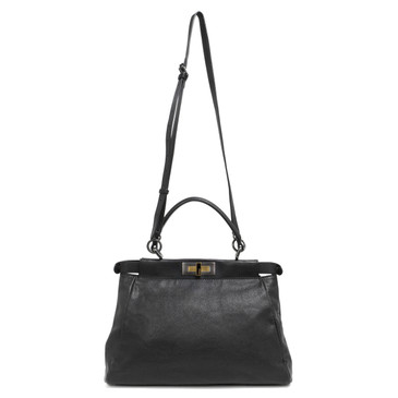 Fendi Black Goatskin Regular Peekaboo