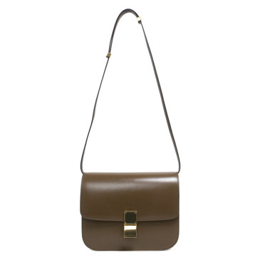 Celine Brown Calf Leather Medium Classic Box Bag